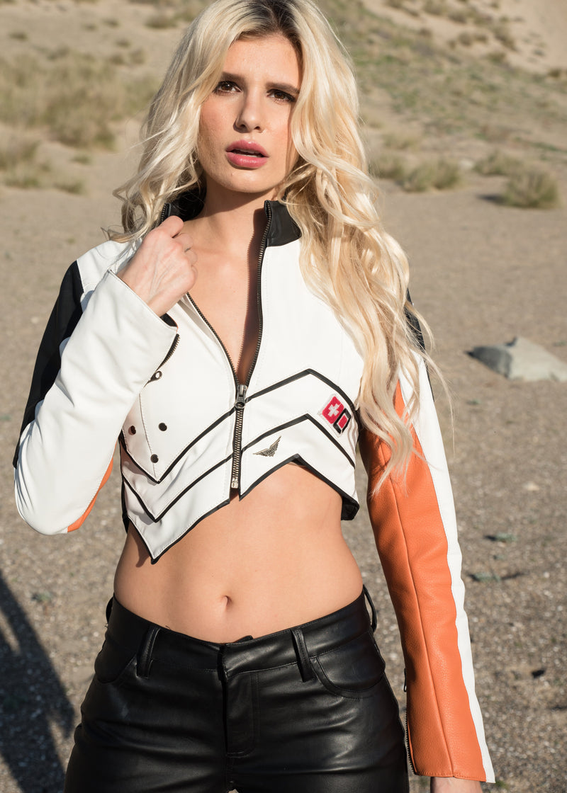 Womens Overwatch Mercy Crop Top Leather Jacket