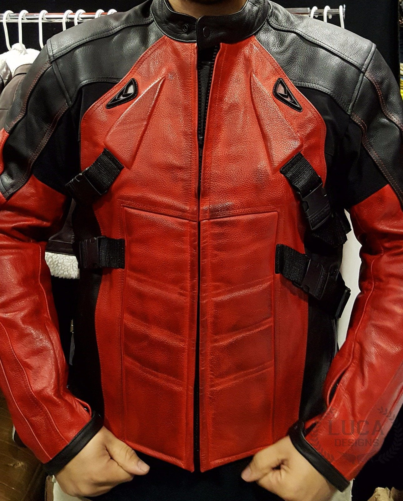 Mens Deadpool Leather Motorcycle Jacket Red and Black Armored