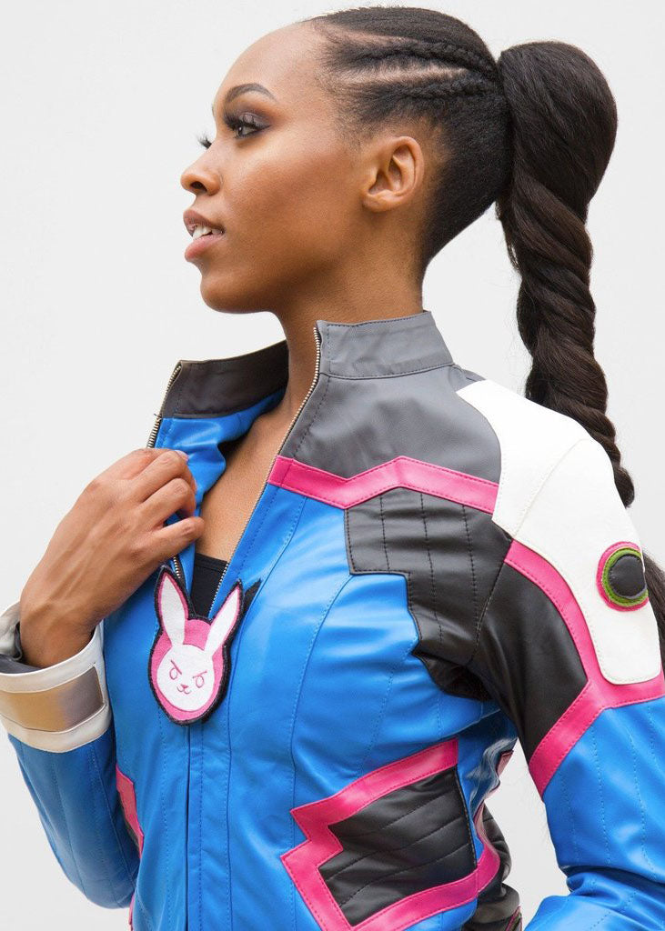 Womens Dva Overwatch Leather Jacket Blue
