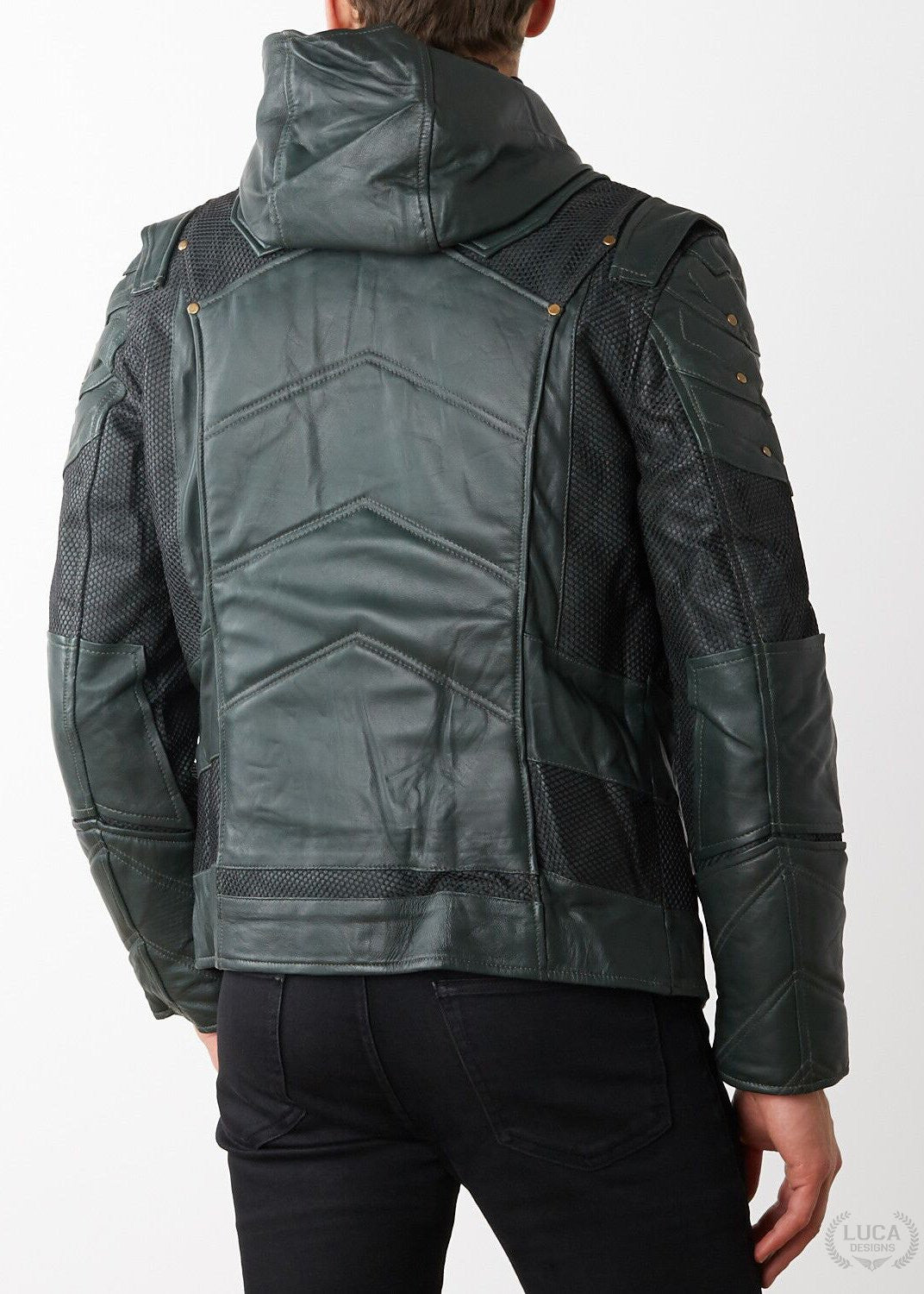 Mens Green Arrow Stephen Amell Leather Jacket