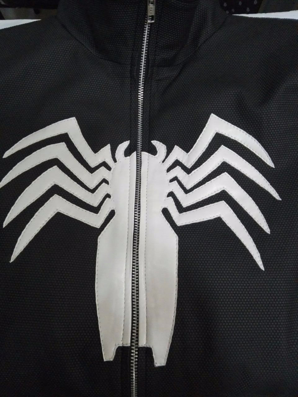 Womens Venom Logo Spiderman Neoprene Windbreaker Jacket Black