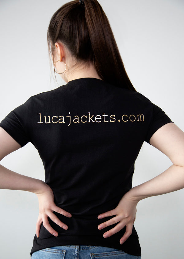 Womens Luca Designs Black & Gold Logo Graphic T-Shirt Back