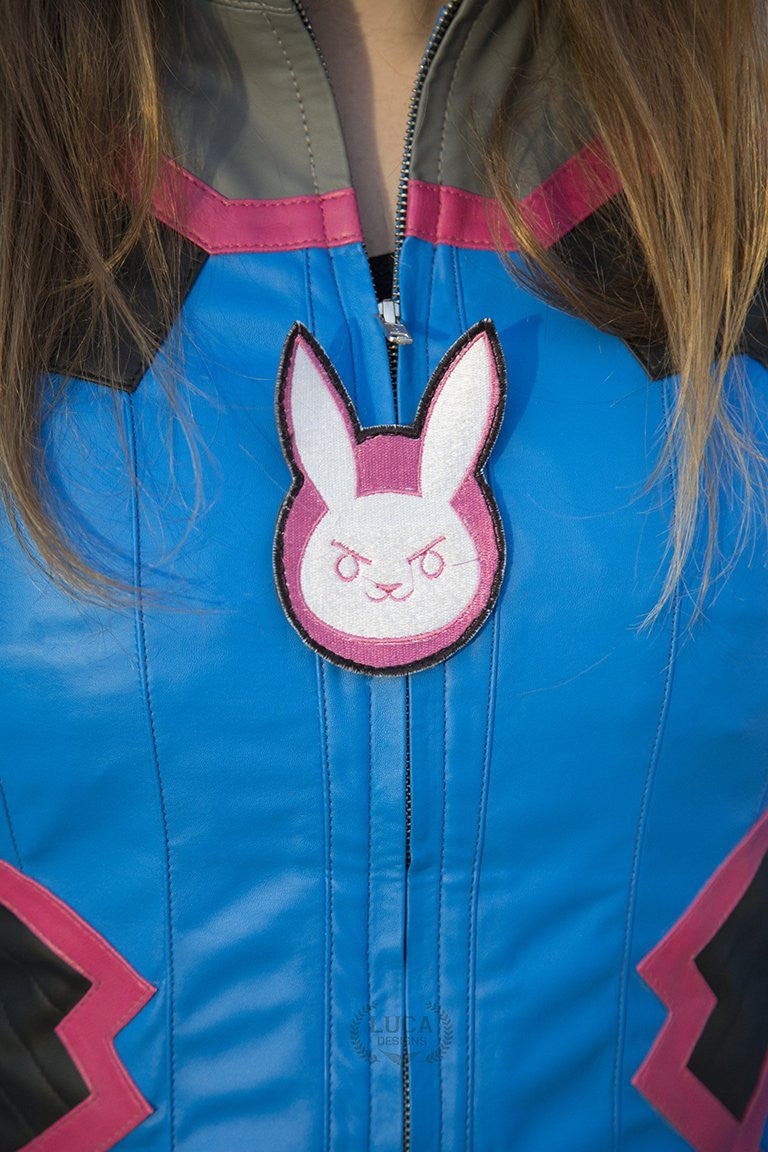 Womens Overwatch DVA Leather Jacket Blue
