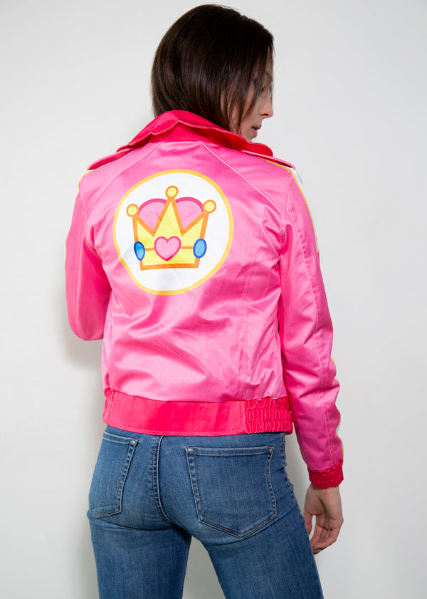 pink retro bomber jacket racing fashion