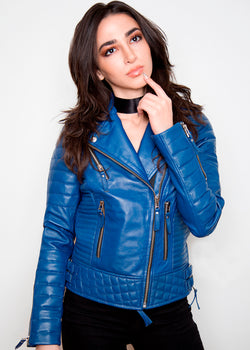 Biker Blue Quilted Genuine Leather Jacket by Luca Designs