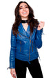 Womens Quilted Leather Motorcycle Jacket Blue