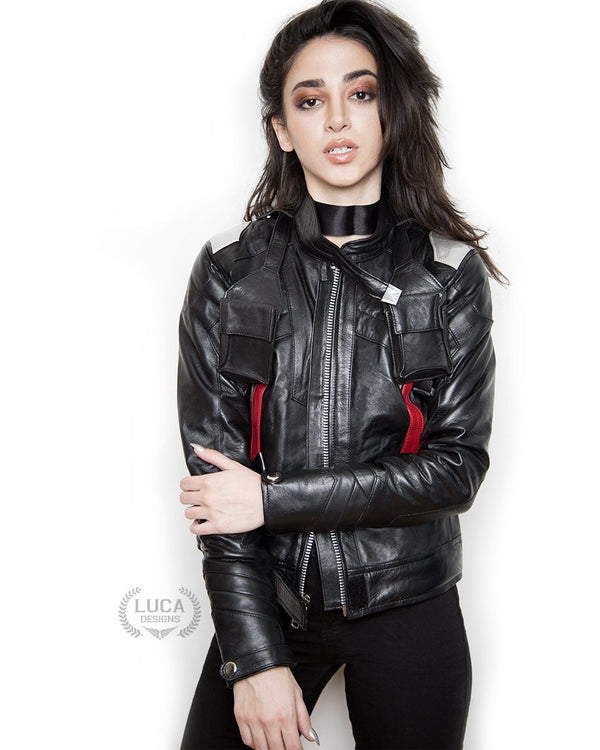 Womens Soldier 76 Leather Jacket Black