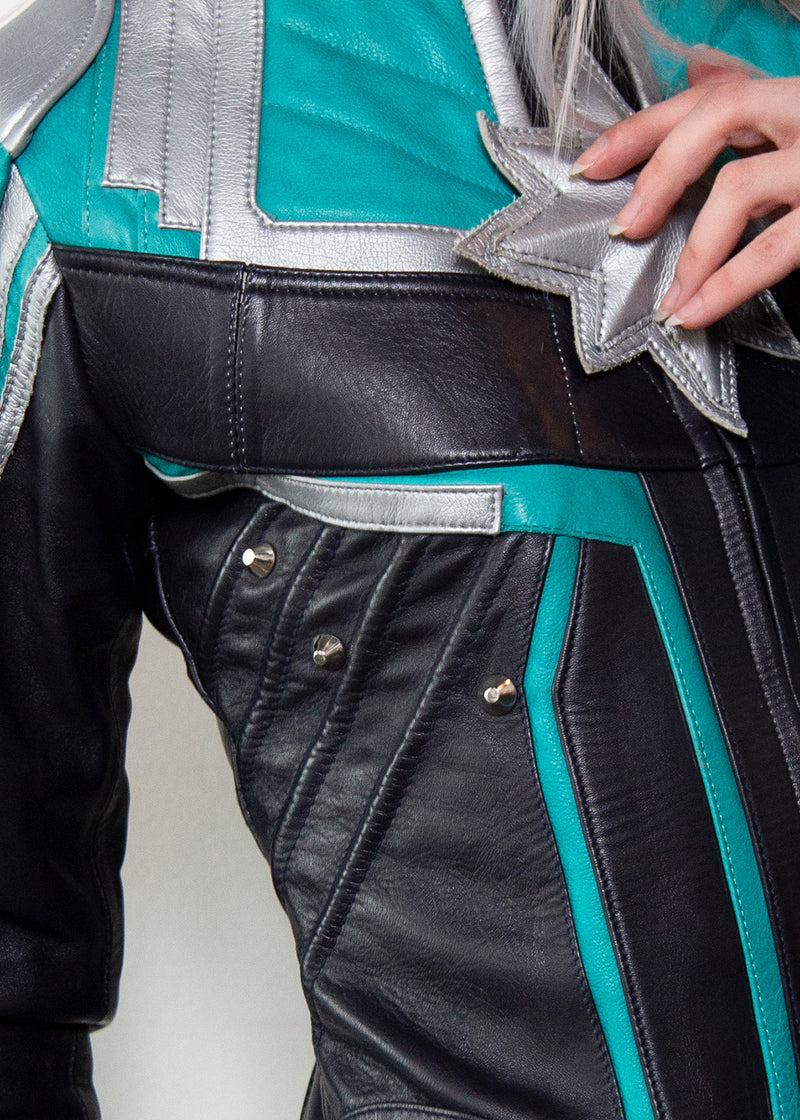 The Original Captain Limited Edition Motorcycle Leather Jacket, Close up Detail