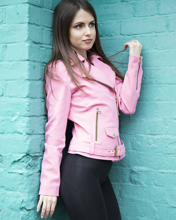 Womens Barbie Doll Soft Faux Leather Jacket Pink Mattel