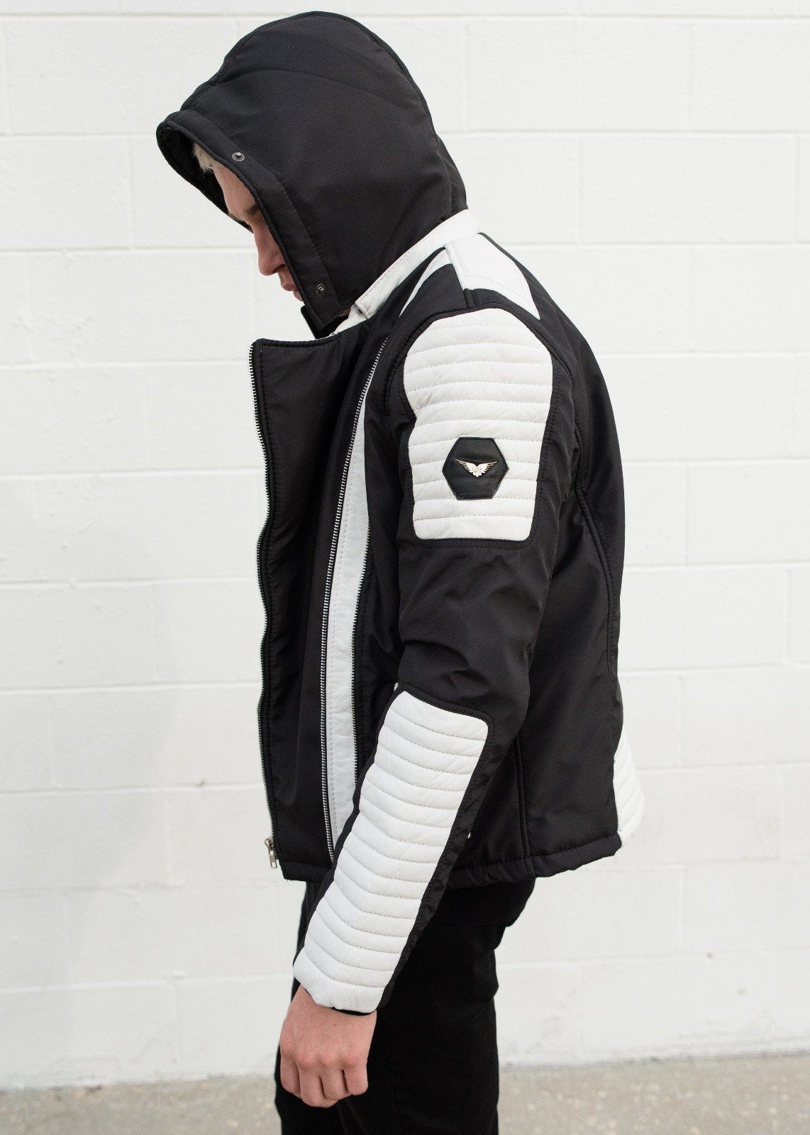 Mens Ninja Leather Jacket Black White Contrast Quilted Moto