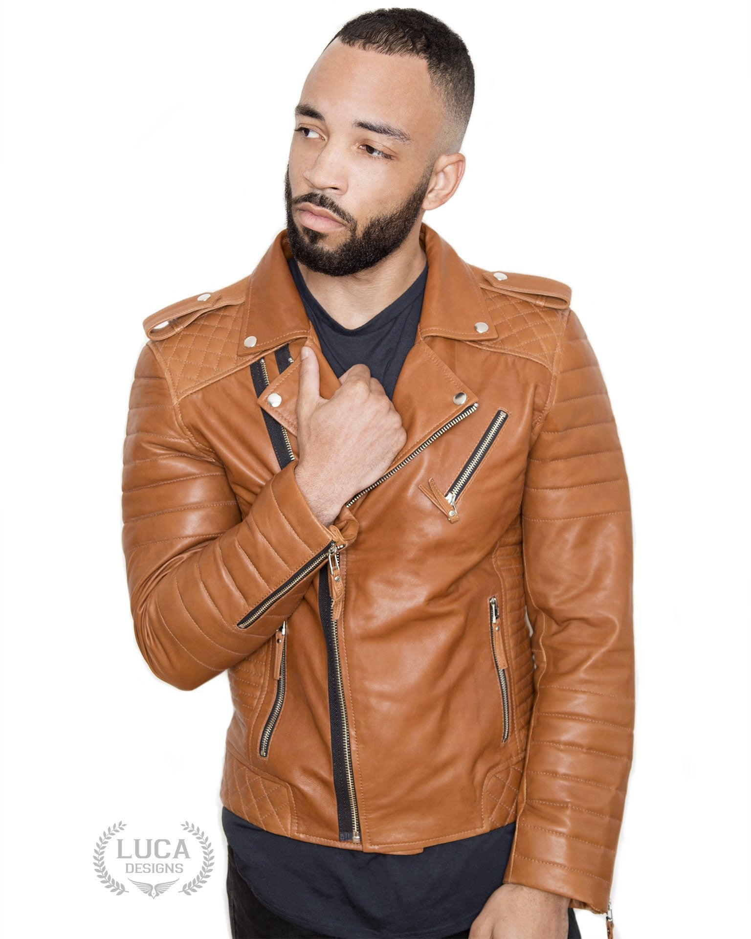Mens Quilted Leather Motorcycle Jacket Brown