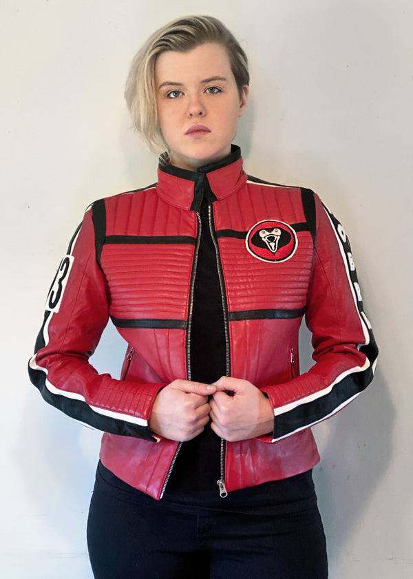 Womens My Chemical Romance Kobra Kid Mikey Way Red Leather Motorcycle Jacket - Danger Days