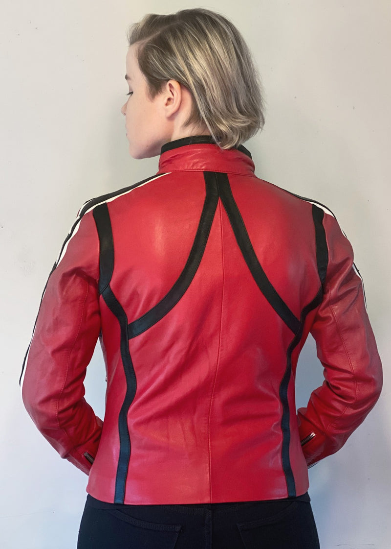 Womens My Chemical Romance Mikey Way Kobra Kid Red Leather Moto Jacket