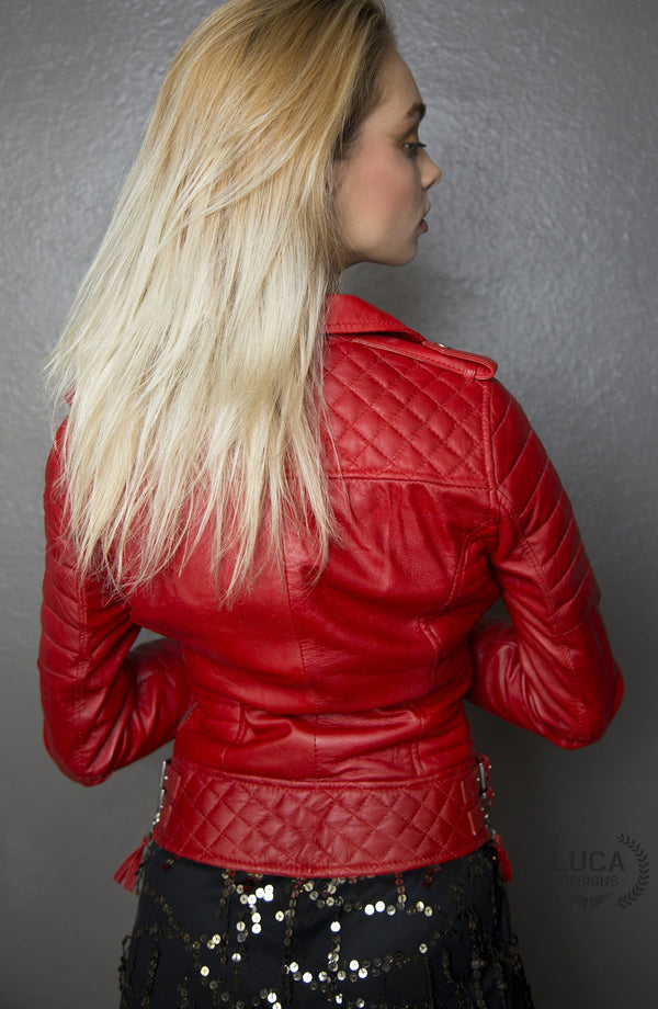 Womens Quilted Leather Motorcycle Jacket Red