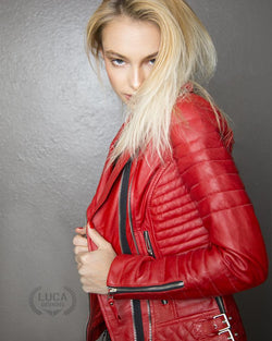 Womens Motorcycle Quilted Leather Jacket Red By Luca Designs