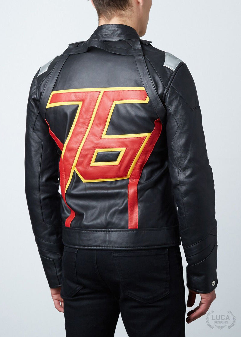 Mens Soldier 76 Jet Black Leather Jacket