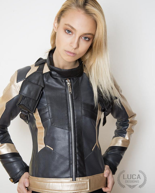 Womens Soldier 76 Leather Jacket Gold
