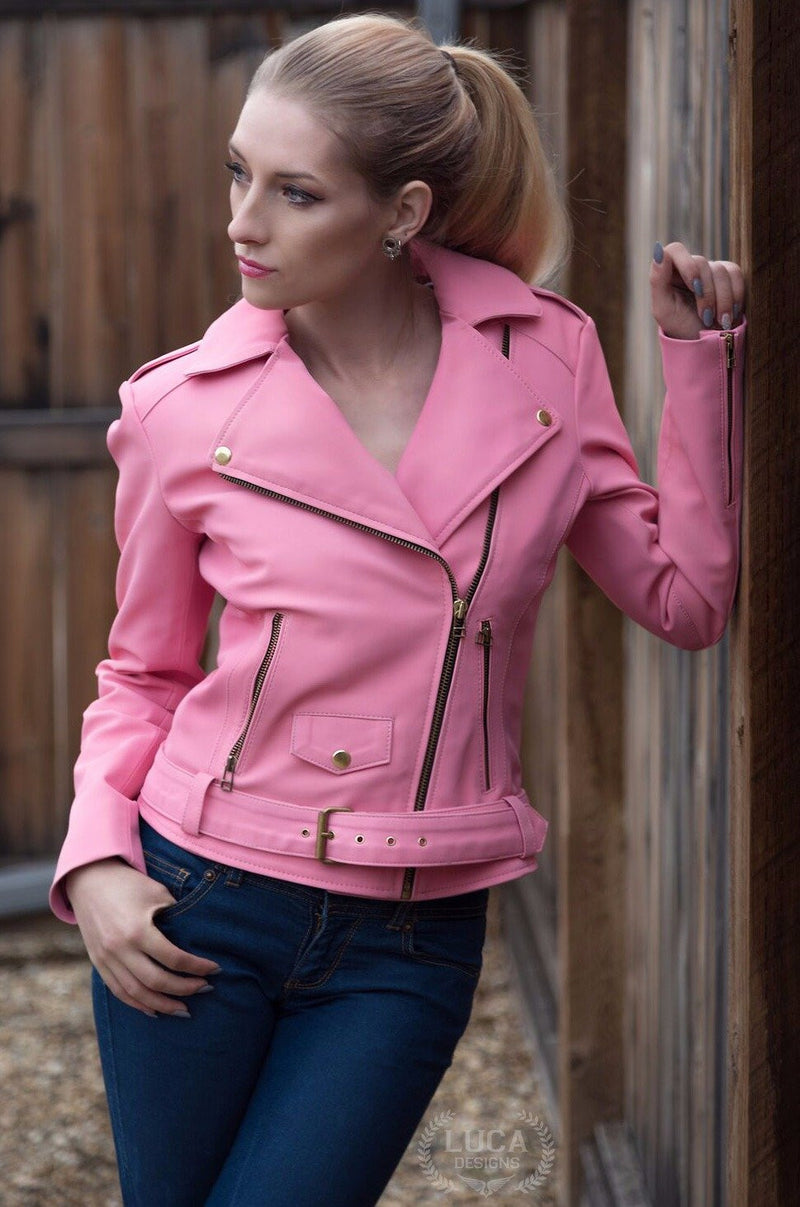 Womens Barbie Doll Leather Jacket Pink