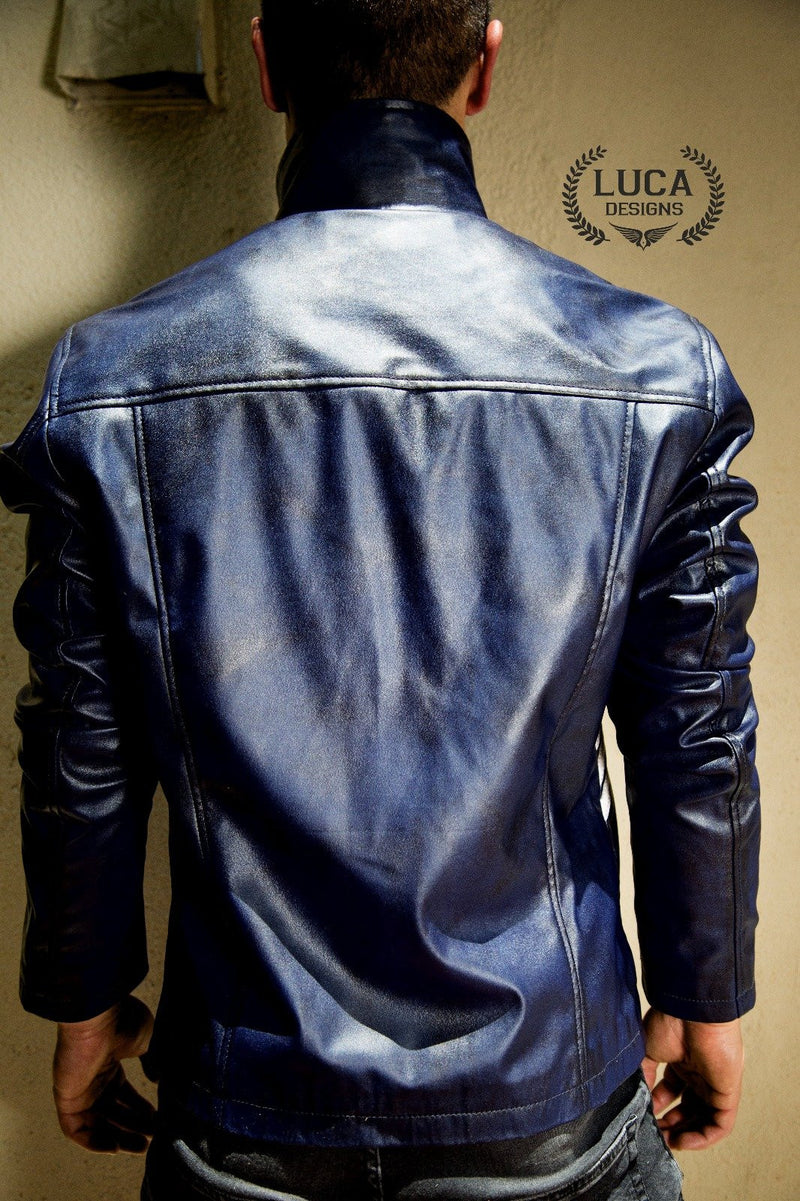 Mens Spiderman Venom Leather Jacket Blue Weathered