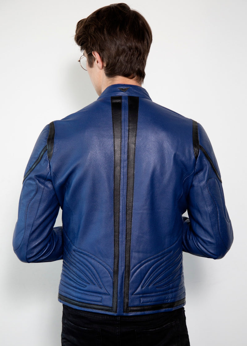 Superman Blue Armored Leather Jacket Back