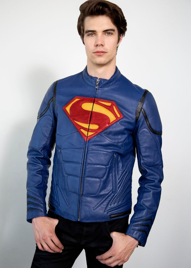 Kryptonian Armored Blue Superman Leather Jacket