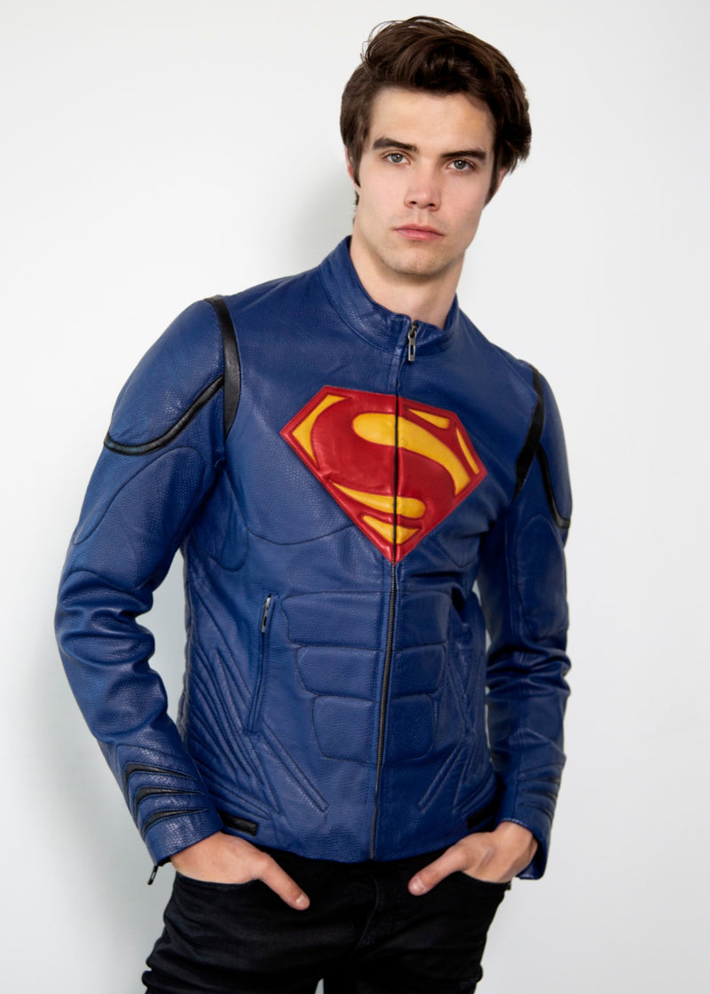 Mens Superman Blue Leather Jacket