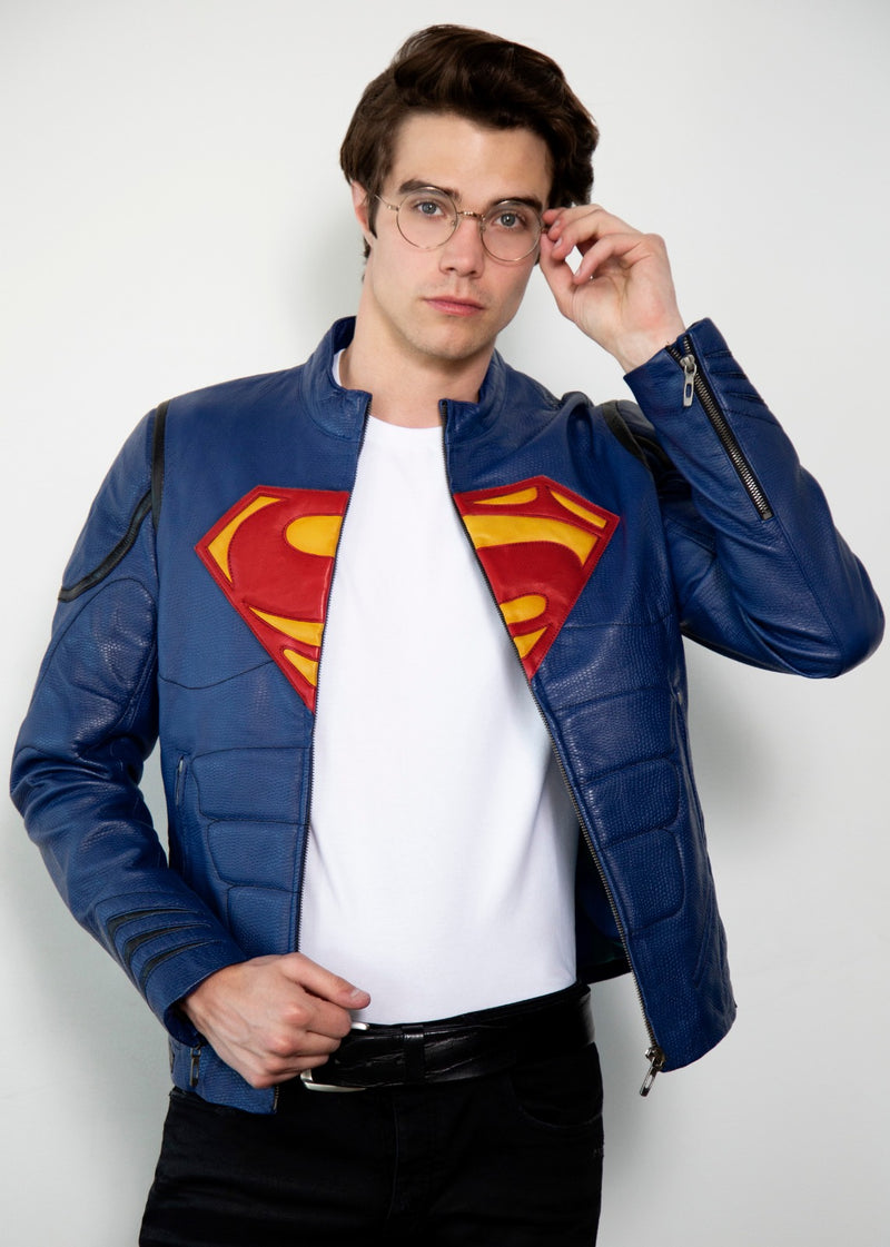Superman Blue Armored Leather Jacket