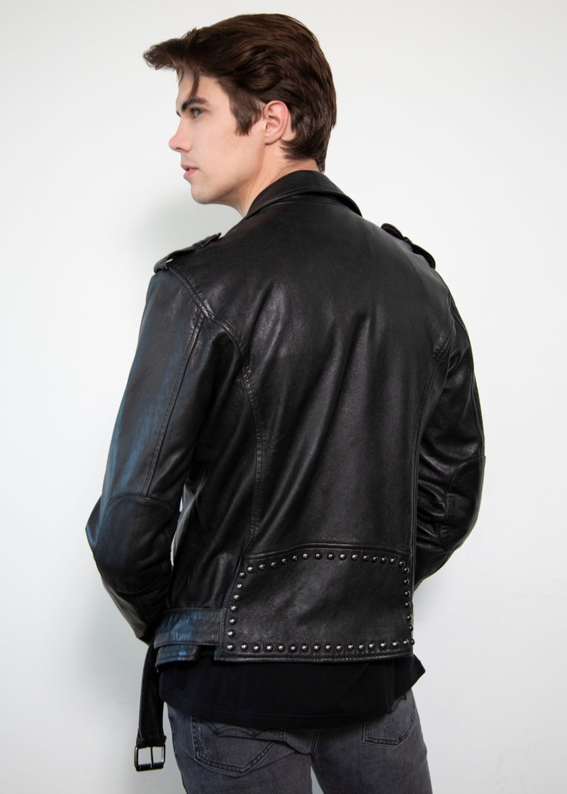 Dome studded collar and back black biker jacket