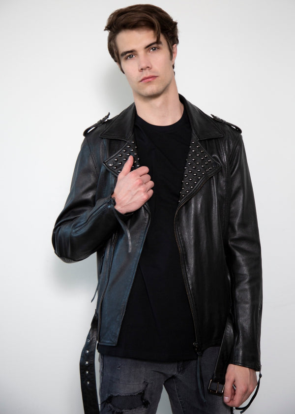 Dome Studded Collar Black Motorcycle Leather Jacket