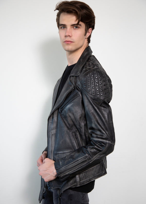 Black Motorcycle jacket with smooth studded shoulders