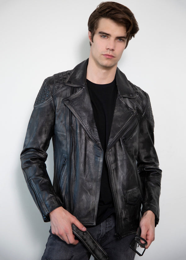 Nathan Smooth Studded Shoulder Black Moto Leather Jacket