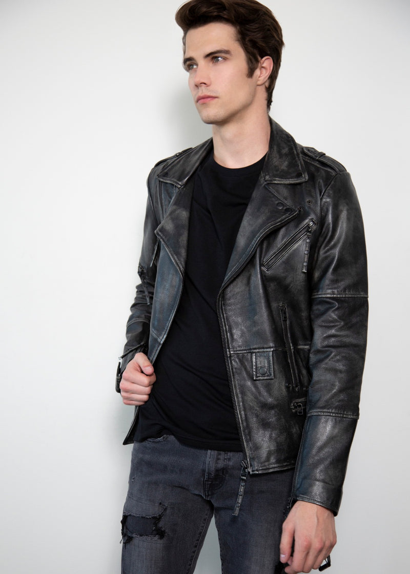 Gray worn out style Motorcacle Leather Jacket