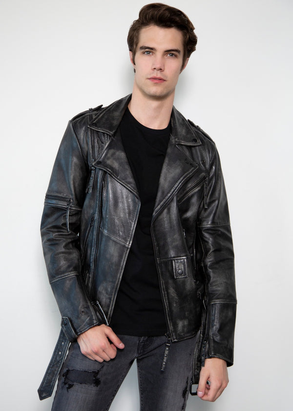 Taylor Rub-off Zippered Gray Motorcycle Leather Jacket