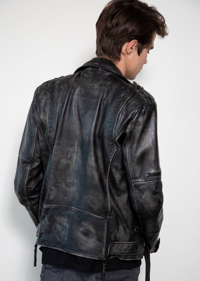 Taylor gray moto leather jacket