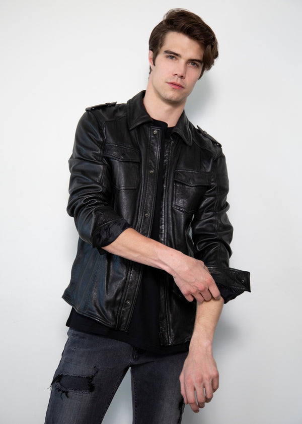 Black Draco Nero Napa Leather Shirt