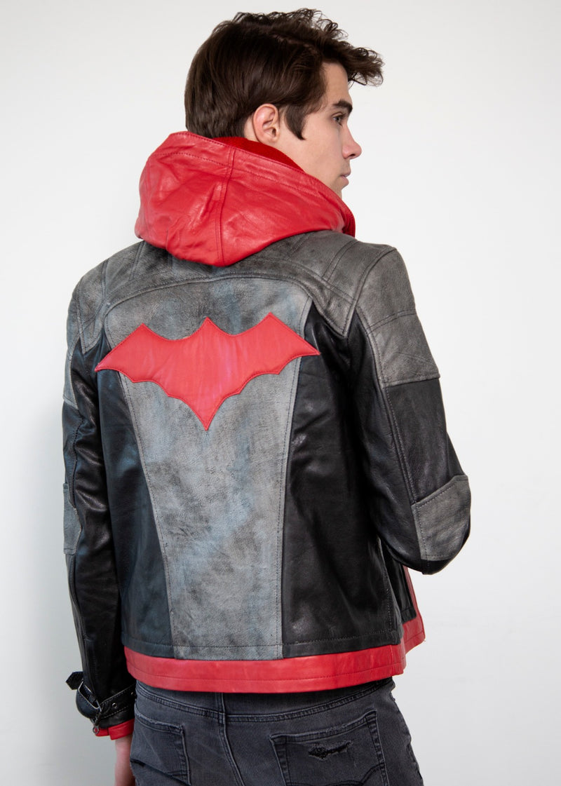 Red Hood Logo Leather Jacket with Hood
