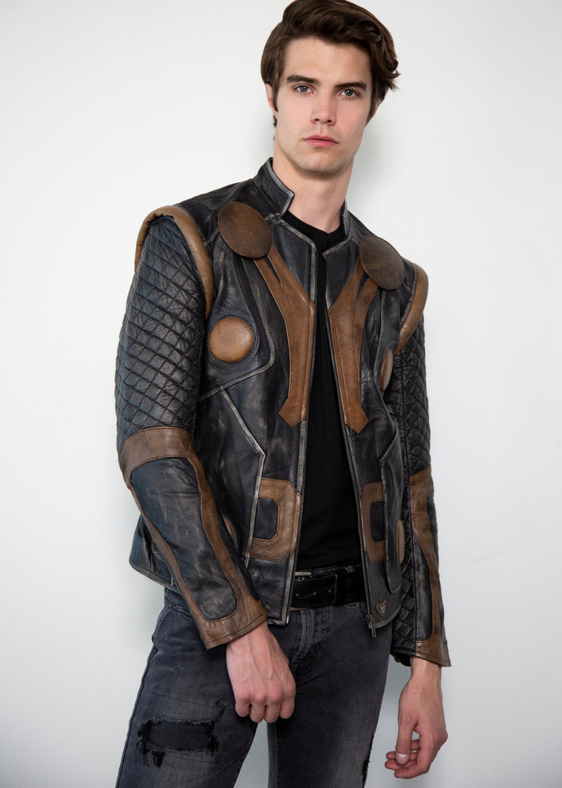 Thor Vintage Moto Quilted Leather Jacket
