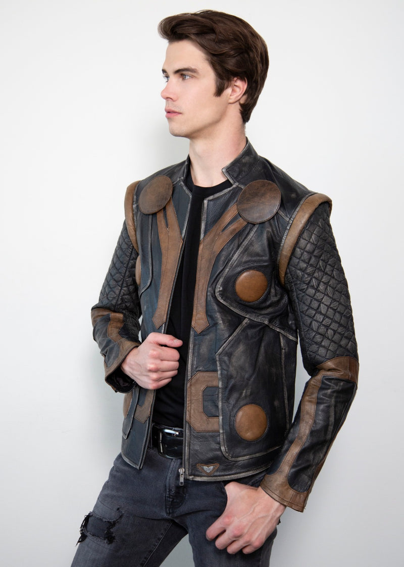 Thor Quilted Vintage Motorcycle armor Leather Jacket