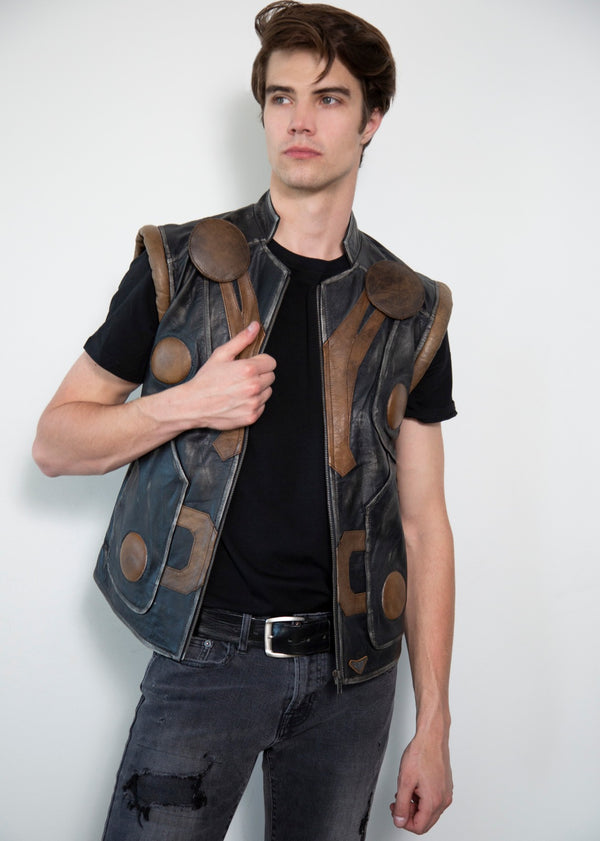Thor Quilted Leather Jacket without sleeves