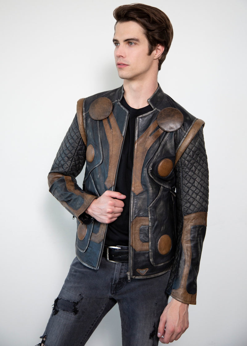Mens Thor Vintage Moto Quilted Leather Jacket