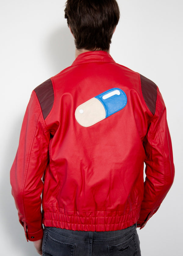 Mens Akira Kaneda Red Leather Motorcycle Jacket with Pill Design