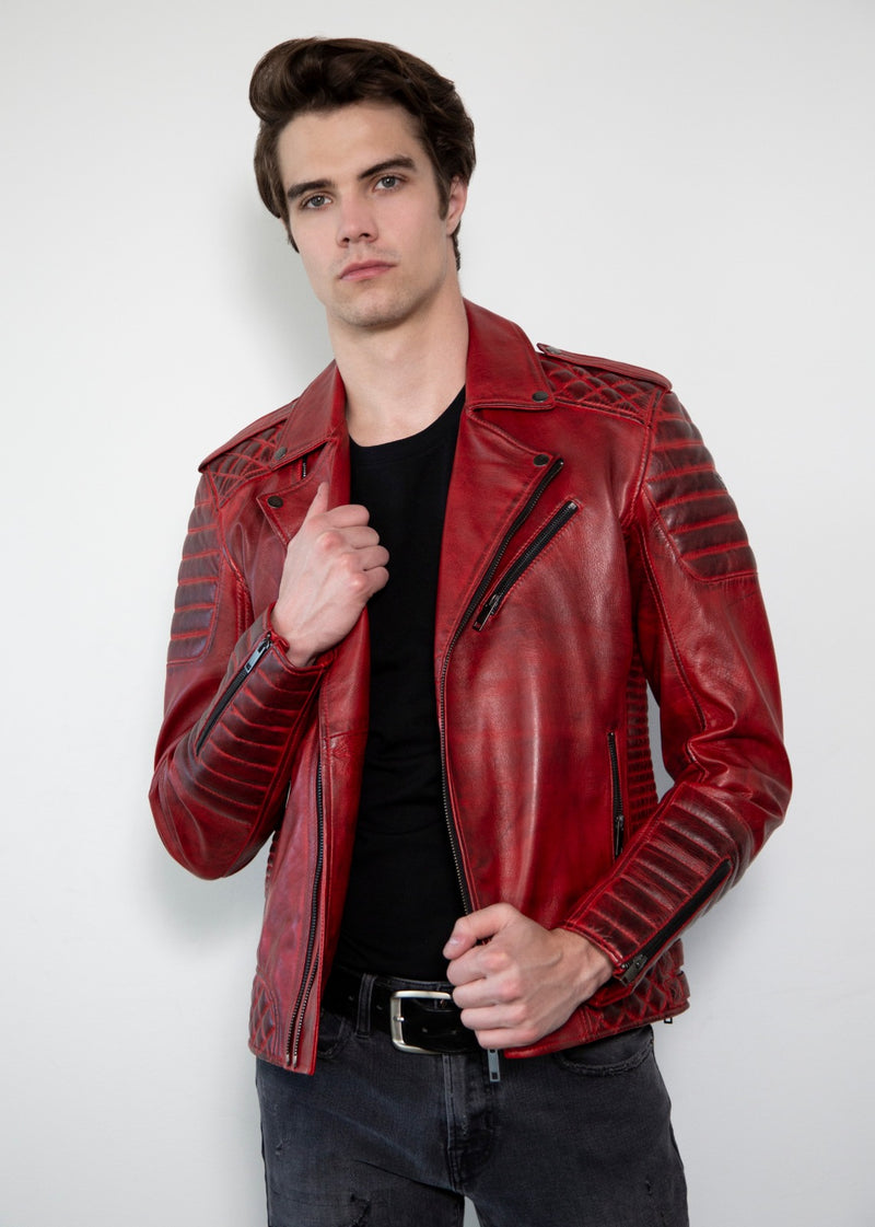 Mens Quilted Smoky Red Leather Motorcycle Jacket