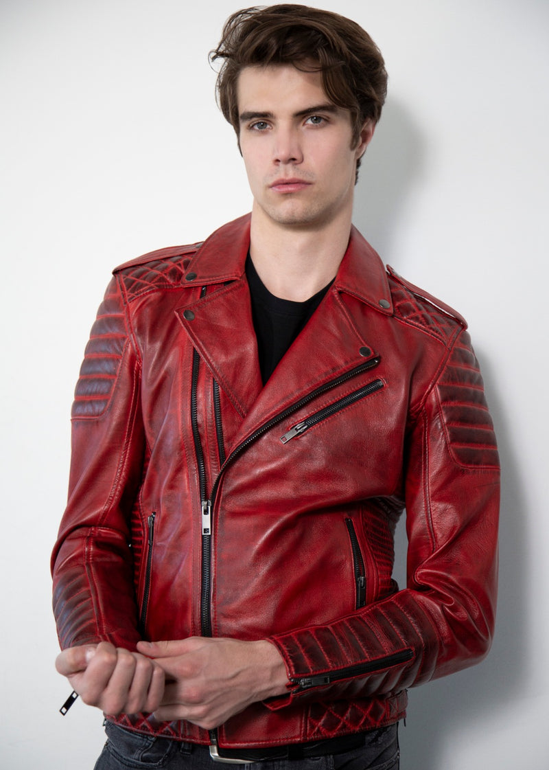 Quilted Red Moto Leather Jacket Smoky Finish