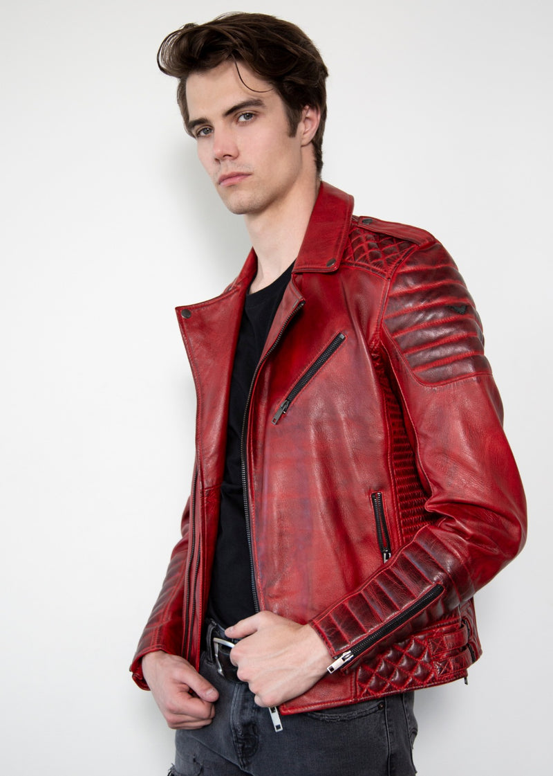 Charcoal Red Quilted Motorcycle Leather Jacket