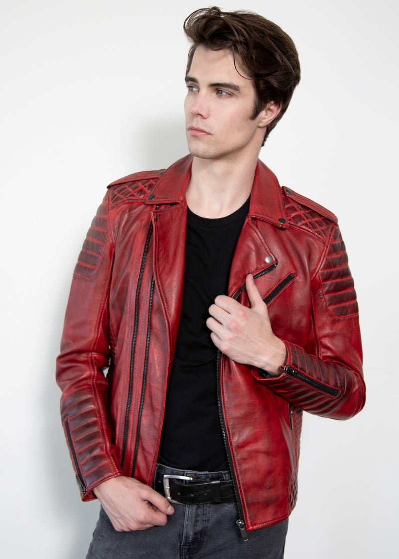 Mens Quilted Red Moto Leather Jacket