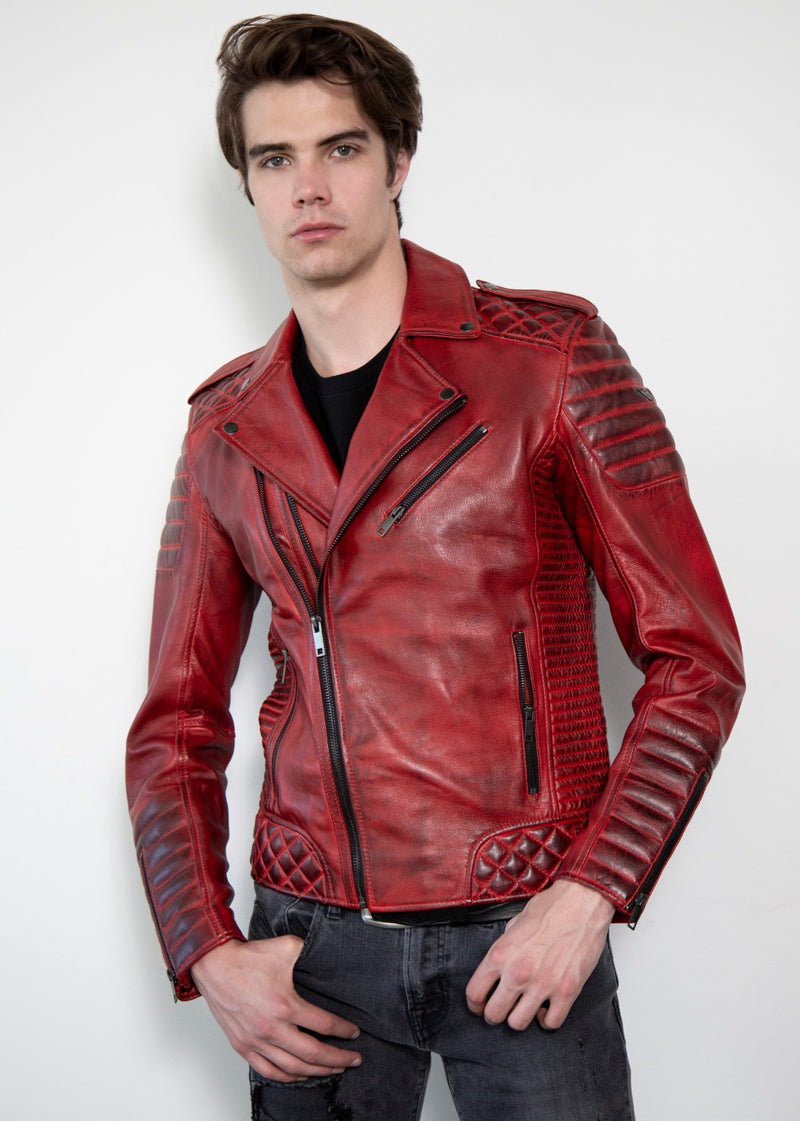 Mens Red Worn Out Style Quilted Motorcycle Leather Jacket