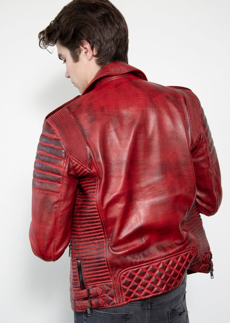 Mens Red Quilted Smoky Charcoal Moto Leather Jacket Back