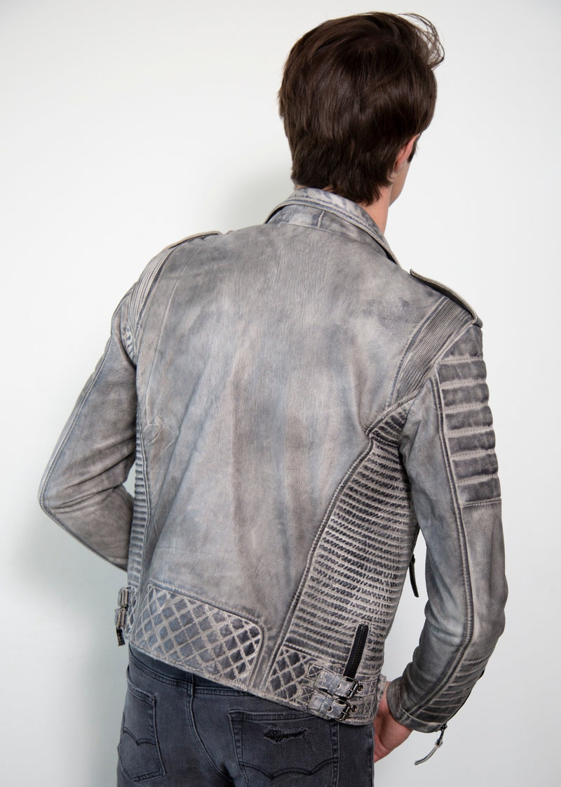 Charcoal Gray Quilted Leather Jacket