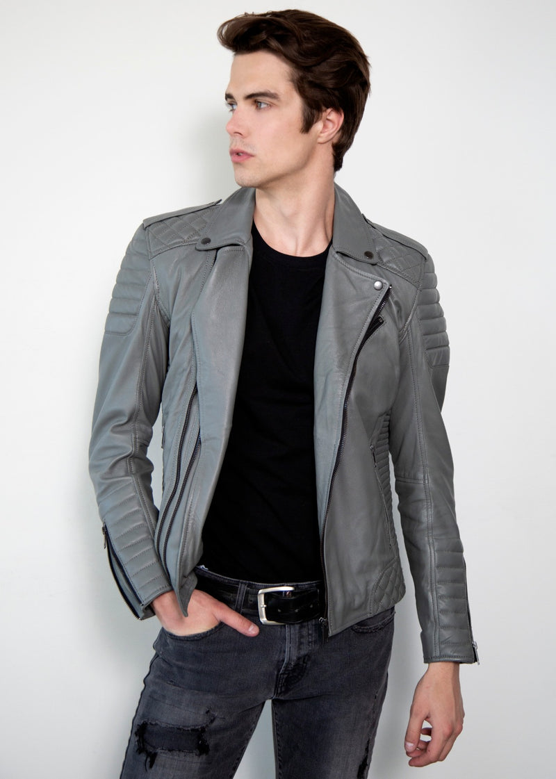 Smooth Gray Quilted Moto Leather Jacket