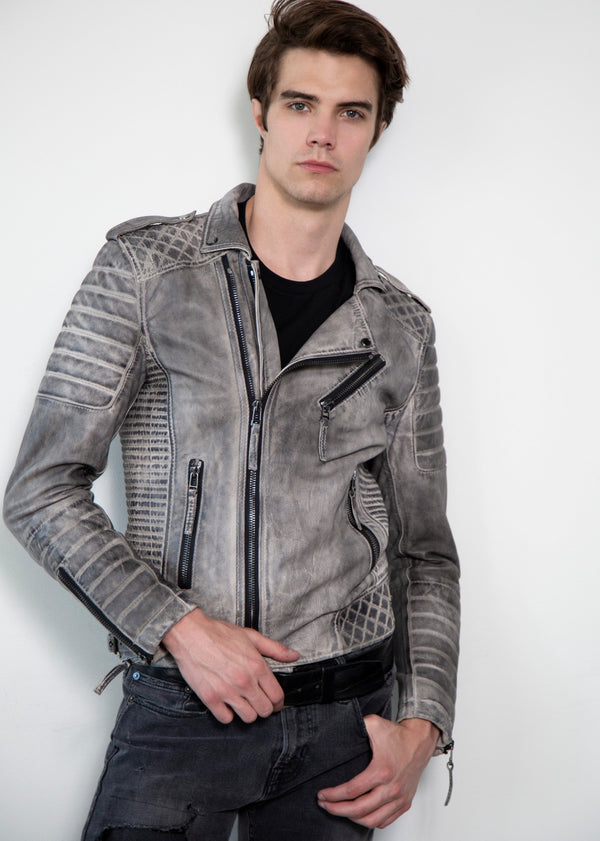 Quilted Gray Moto Leather Jacket Charcoal Finish